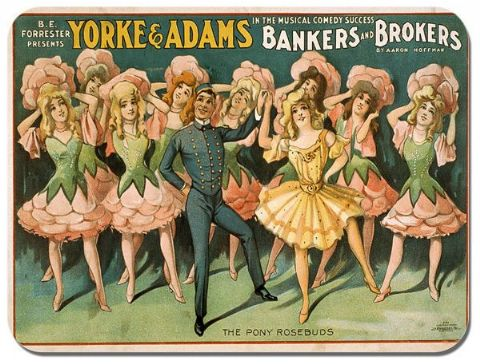 Vintage Bankers and Brokers Theatre Poster Mouse Mat  Mouse Pad